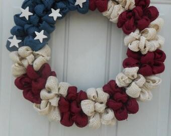 July 4th Patriotic wreath Patriotic burlap wreath Patriotic decor Primitive Country wreath RTS