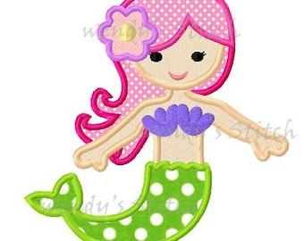 instant download mermaid applique machine embroidery design