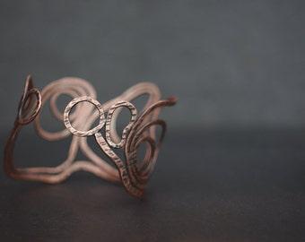Landscape: LAN - Assymetric handmade textured copper bracelet cuff
