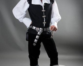 """14% DISCOUNT! Mens Vest """"Chevalier"""" renaissance medieval noble black vest; wool vest; woolen vest; lined vest"""