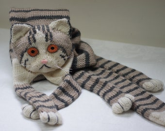 Tabby Gray Cat Scarf Knitting Scarf Gray Scarf Cowl Scarf Long Scarf knit, winter scarf, Christmas Gift, Multicolor Scarf