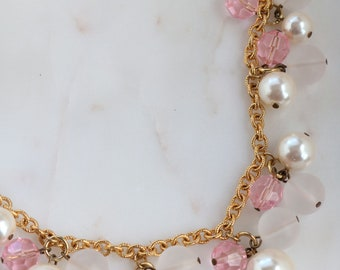 Vintage Napier Pearl Charm Necklace - Pink Beads Charm Necklace