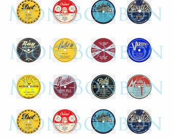 Digital Collage Sheet of Vintage Record Labels One Inch - INSTANT DOWNLOAD