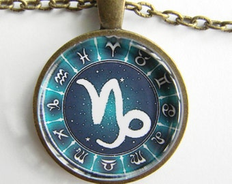 CAPRICORN ZODIAC SIGN Necklace -- Capricorn necklace for him or her, December January birth month, Stars and symbols