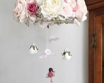 Fairy floral chandelier, fairy flower mobile, whimsical baby mobile, fairy mobile, pink flower mobile, purple flower mobile