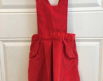 Vintage Carters Red Corduroy Jumper Dress (Size 5)