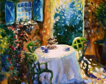 SECRET GARDEN, art print of outside scene. Garden furniture, Blue and green.