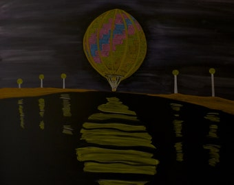 Hot air balloon at night done in colored and white drawing chalk