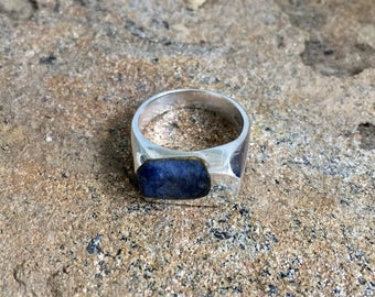 Silver Jewelry - Blue Sodalite Stone Odd Shaped Rectangle Square Geometric Mexico 925 Ring