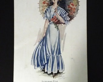 Summer Girl--Antique Gibson Girl Postcard, 1913