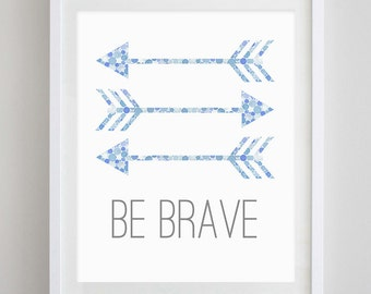 Be Brave Arrows Watercolor Art Print in Blue Dots
