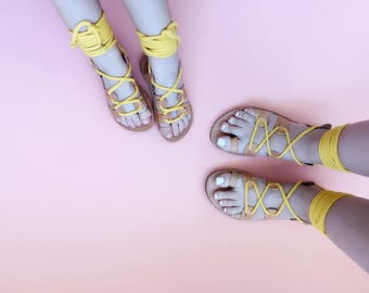 Mommy and Me Gladiator Greek Summer Rope Leather Sandals - Child and Adult Sandals with Rope Fabric Wrap Up Laces