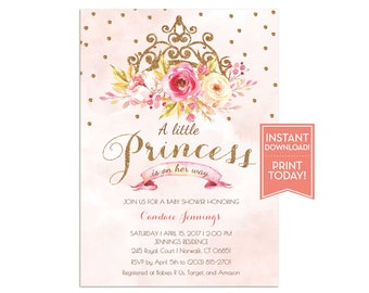 Little Princess Baby Shower Invitation   Pink Princess Baby Shower  Invitation   Pink And Gold