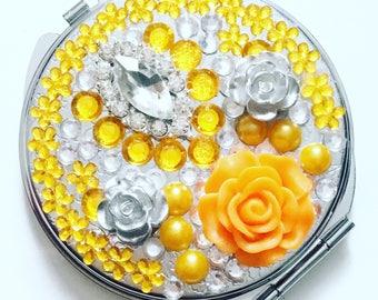 Compact mirror, bridesmaid gift, handheld mirror, Wedding gift, maid of honour, bridesmaid compact mirror, makeup mirror, orange and silver