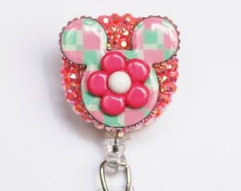 Flower Power And Mickey Mouse ID Badge Reel - Retractable ID Badge Holder - Zipperedheart