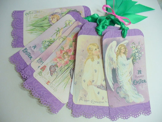 Easter angel purple gift hangtags birthday gift bag tags angels easter angel purple gift hangtags birthday gift bag tags angels children purple floral tags vintage angels easter basket tags doily from negle Choice Image