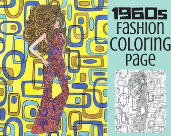 Adult Coloring Page- Late 1960s Fashion Coloring Page- Vintage Coloring Page- Printable
