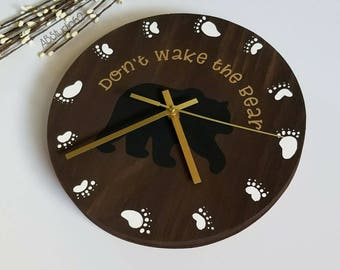 Woodland Nursery Decor, Woodland Clock, Modern Wall Clock, Modern Clock, Don't Wake the Bear, Nursery Clock, Clocks for Kids, Bear Nursery