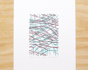 "Woodblock Print - ""Field Lines"" - Abstract Wall Art Printmaking"