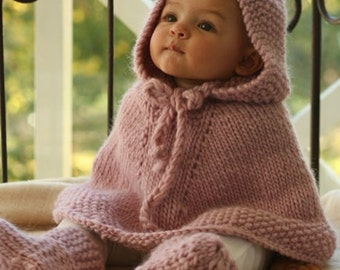 Baby poncho / cape (or set with booties) hand knitted in 100% soft wool, size 1/3 - 6/9 - 12/18 months - 2 – 3/4 years I