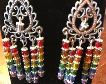Chandelier earrings rainbow colored