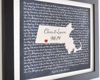 Custom Wedding Gift First Dance Lyrics, Anniversary Gift Ideas Love State Map ANY Song i wanna love you Lyric Gift Wall Art Print