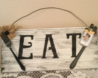 EAT Kitchen sign wood  Mother's Day gift home decor  cottage country decor housewarming gift prim cabin handmade  ready to ship