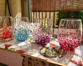 Polka-dot Stemless Wine Glasses