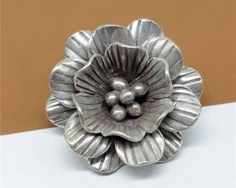 Karen Hill Tribe Silver Flower Pendant, Flower Charm, Hill Tribe Silver Plum Blossom Pendant, Oxidized Silver Flower 5.5g - TR491
