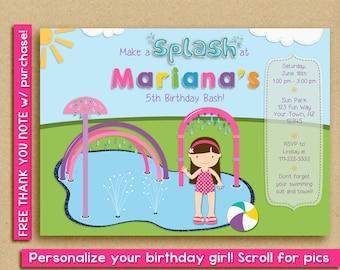 Splash Pad Invitation, Water Park Birthday Party, Spray Park Invitation