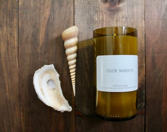 Wine candle // Wine bottle candle // Dark Waters // Ocean candle // Hand poured candle