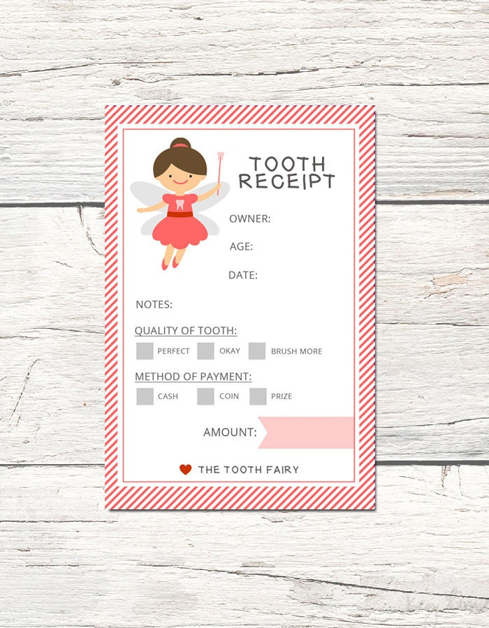 Tooth Fairy Receipt 4 Colors Printable