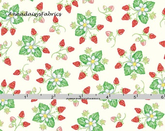 Strawberry Plants Fabric,  Strawberry Quilt Fabric, Red Rooster Fabrics Country Days 26624, Heidi Boyd, Red & Pink Strawberry Cotton Fabric
