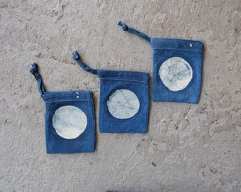 Small Drawstring Baglet in indigo linen with batik moon