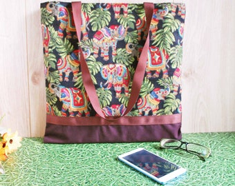 Hippie Style Elephant Brown Cotton Tote, Medium Fabric Tote Bag for Women, Happy Colorful Elephant Shoulder Bag, Cute Festival Tote