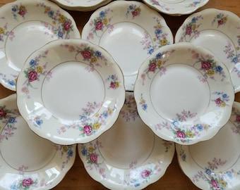 Vintage Haviland Avalon Pattern Shallow Rim Soup Bowls set of 12