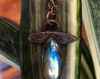 Labradorite copper electroformed necklace