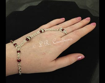 Handcrafted hand jewellery with burgundy & crystal beading