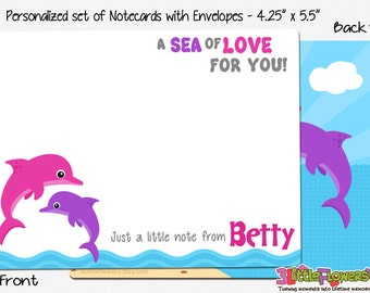 "Dolphin Note Cards - Set of Personalized Note Cards - 4.25"" x 5.5"" - Double-Sided Thank you Cards - Children Stationery - Kids Notecards"