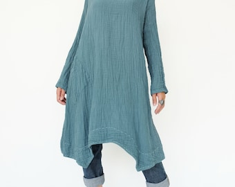 NO.201 Teal Blue Double Cotton Gauze Long Sleeves Tunic Dress, Boat-Neck Dress, Stitch  Detail Tunic, Women's Tunic