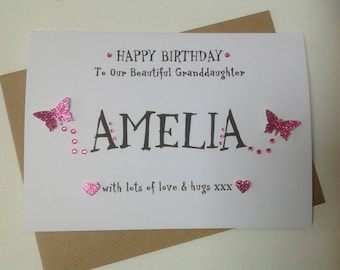 Handmade 1st birthday personalised card- for Daughter, Granddaughter, Goddaughter, Niece - 1st,2nd, 3rd or any age card.