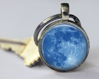 Blue Moon Keychain Full Moon, Astronomy, Outer Space Key Chain, Key Fob