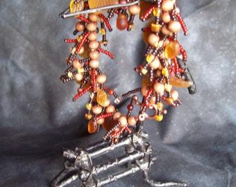 Fall Leaves Fringed Bracelet - Brown