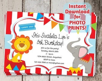 Circus Invitation for Birthday Party / Carnival Themed Invite - Digital File Instant Download - Get as photo prints or print on card stock