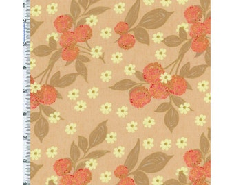 Peach Nel Whatmore Eden Cherry Print Cotton, Fabric By The Yard