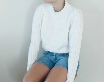 Vintage White Cropped Sweater Cable Knit Sweater Liz Wear 1980s, 1990s Snowy White Boxy Pullover Cotton Sweater Size Small, Medium