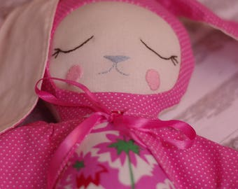 Bunny Fabric Doll in Pink Cape