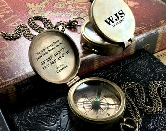 Engraved Compass, Personalized Brass Compass, Christmas Gift, Groomsmen Gift, Anniversary Gift, Baptism Gift, Nautical, Confirmation Gift