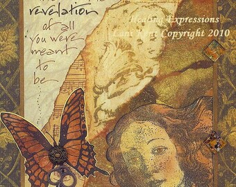 RISK REVELATION Art PRINT inspirational collage face hope butterfly altered art journal healing abuse trauma recovery survivor therapy