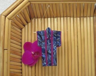 "Tiny 3-inch Ornament ""Blue Bamboo."" Fabric Origami Kimono: Handmade in Royal Blue, Fuschia. Rich Jewel Tones. Hang it, Frame it, Give it."